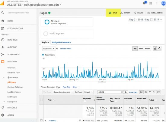 Screenshot of Google Analytic's save feature