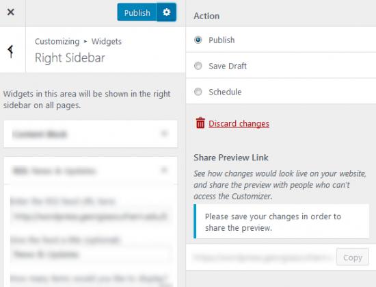 Screenshot - WP Customizer Publish Options Open