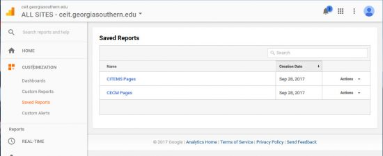 Screenshot of Google Analytic's saved reports feature